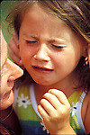 5 year old girl crying while mother tries to console her