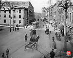 A turn of the century photograph of Bank Street,near Grand Street, in Waterbury. F.P. Slavin optometry was located on Bank Street from 1906 - 1904; first at 167 then at 171.