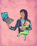 Illustrative image of businesswoman carrying baby while using laptop representing multi tasking