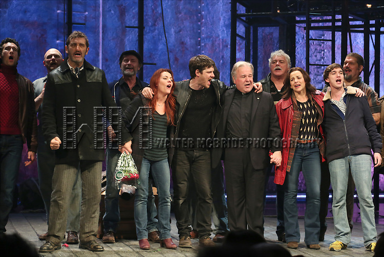 Aaron Lazar, Jimmy Nail, Rachel Tucker, Michael Esper, Fred Applegate, Sally Ann Triplett and Collin Kelly- Sordelet with cast during the Broadway Opening Night Performance Curtain Call for 'The Last Ship' at the Neil Simon Theatre on October 26, 2014 in New York City.
