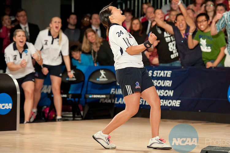 14 APR 2012: Joely Carrillo (24) of Fairleigh Dickson reacts to a strike during the Division I Womens Bowling Championship held at Freeway Lanes in Wickliffe, OH.  The University of Maryland Eastern Shore defeated Fairleigh Dickinson 4-2 to win the national title.  Jason Miller/NCAA Photos