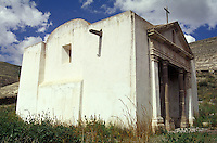 The neoclassical style Capilla del Reposo or Descanso chapel in the Camposanto cemetery in the 19th-century  silver-mining town of Real de Catorce, San Luis Potosi state, Mexico. Real de Catorce became a virtual ghost town during the early part of the 20th century. It has recently become a popuar destination for travellers.