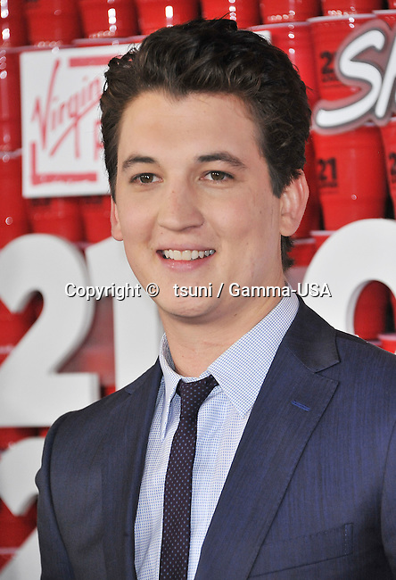 Miles Teler _12 at the 21 and Over premiere at the Westwood Village Theatre in Los Angeles.