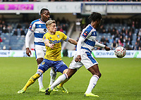 Leeds United's Ezgjan&nbsp;Alioski competing with Queens Park Rangers' Osman Kakay<br /> <br /> Photographer Andrew Kearns/CameraSport<br /> <br /> The Emirates FA Cup Third Round - Queens Park Rangers v Leeds United - Sunday 6th January 2019 - Loftus Road - London<br />  <br /> World Copyright &copy; 2019 CameraSport. All rights reserved. 43 Linden Ave. Countesthorpe. Leicester. England. LE8 5PG - Tel: +44 (0) 116 277 4147 - admin@camerasport.com - www.camerasport.com