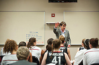 DENVER, CO--Tara VanDerveer talks with her team at the half against Baylor during the semifinals of the 2012 NCAA Women's Final Four in Denver, CO. The Cardinal fell to the Bears 47-59.