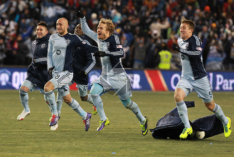Sporting KC defeated Real Salt Lake in a shootout after the score was tied 1-1 at the end of regulation play in the MLS Cup 2013 championship held at Sporting Park in Kansas City, Kansas on Saturday December 7, 2013.