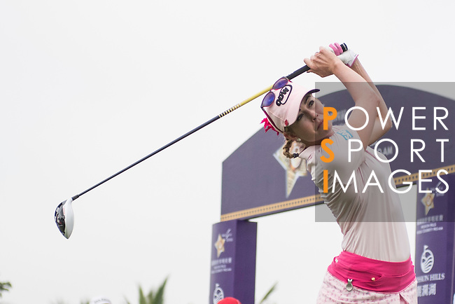 Paula Creamer tees off the 1st hole during the World Celebrity Pro-Am 2016 Mission Hills China Golf Tournament on 23 October 2016, in Haikou, China. Photo by Weixiang Lim / Power Sport Images