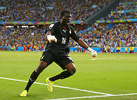 Ghana goalkeeper Fatawu Dauda celebrates his sides second goal