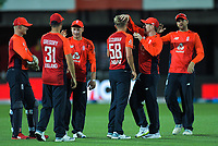 England celebrates a wicket during the 4th Twenty20 International cricket match between NZ Black Caps and England at McLean Park in Napier, New Zealand on Friday, 8 November 2019. Photo: Dave Lintott / lintottphoto.co.nz