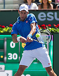 Novak Djokovic (SRB) during his semifinal match against Andy Murray (GBR). Djokovic advanced to Sunday's final after defeating Murray by 62 63 at the BNP Parisbas Open in Indian Wells, CA on March 21, 2015.