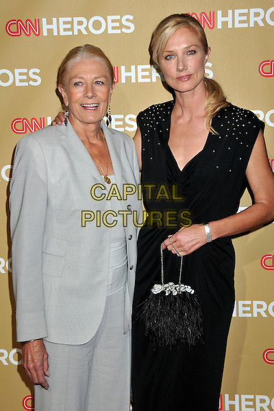 VANESSA REDGRAVE & JOELY RICHARDSON.CNN Heroes: An All-Star Tribute 2008 at the Kodak Theatre, Hollywood, CA, USA..November 22nd, 2008.half length grey gray suit jacket black dress bag purse mother mom mum daughter family .CAP/ADM/BP.©Byron Purvis/AdMedia/Capital Pictures.