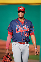 Peoria Chiefs pitcher Johan Oviedo (44) before a game against the Bowling Green Hot Rods on September 15, 2018 at Bowling Green Ballpark in Bowling Green, Kentucky.  Bowling Green defeated Peoria 6-1.  (Mike Janes/Four Seam Images)