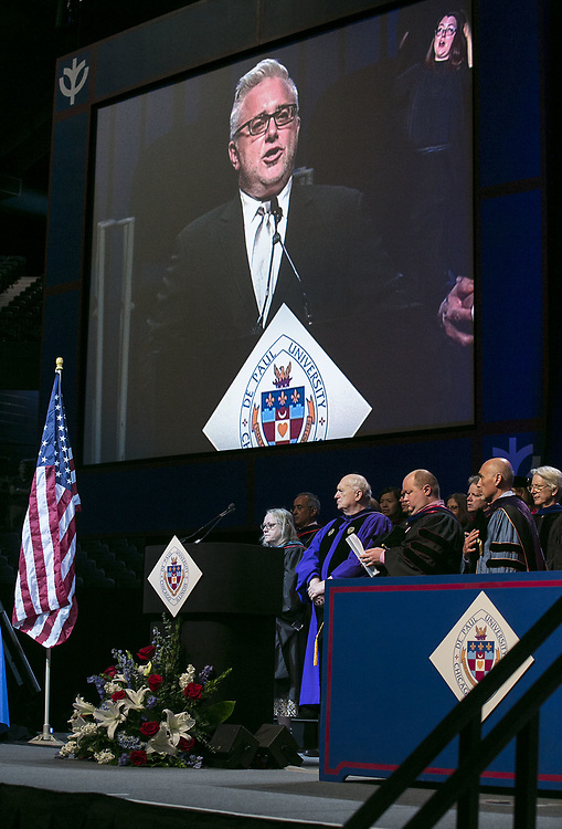 John Concepcion sings the national anthem Sunday, June 11, 2017, during the DePaul University College of Computing and Digital Media and the College of Communication commencement ceremony at the Allstate Arena in Rosemont, IL. (DePaul University/Jamie Moncrief)