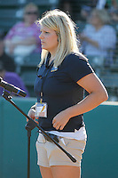 Myrtle Beach Pelicans Senior Director of Community Development Jen Borowski setting up the national anthem singer before a game against the Potomac Nationals at Ticketreturn.com Field at Pelicans Ballpark on May 23, 2015 in Myrtle Beach, South Carolina.  Myrtle Beach defeated Potomac 7-3. (Robert Gurganus/Four Seam Images)