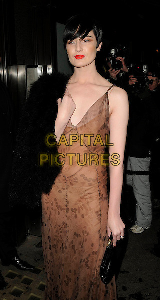 ERIN O'CONNOR .At the Celebration Of Film Dinner, Ceccioni's, London, England, February 6th 2009..half length long brown dress maxi black clutch bag black fur red lipstick .CAP/CAN.©Can Nguyen/Capital Pictures