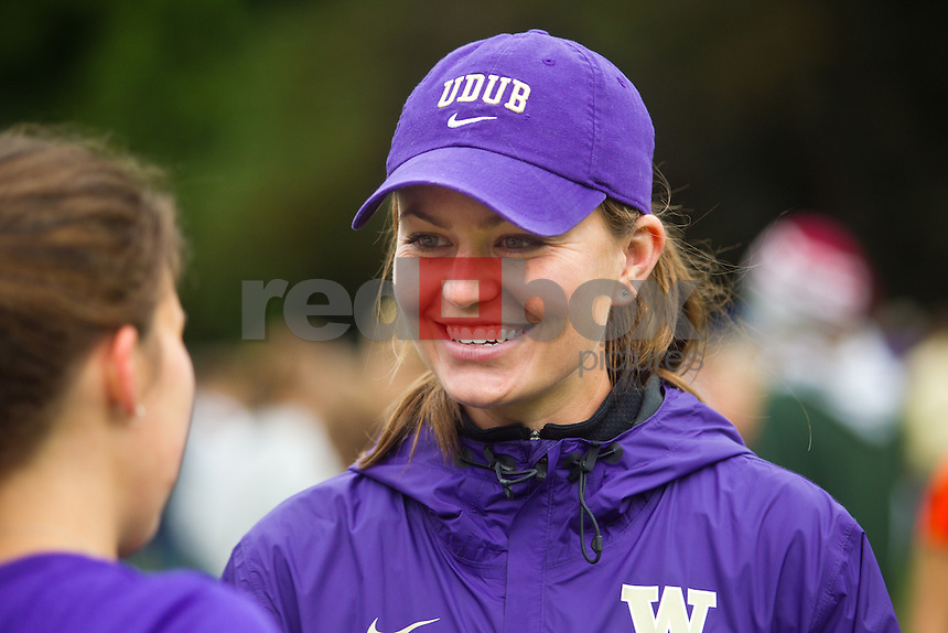 Assistant coach Lauren Denfeld ---Washington Huskies men's and women's cross country teams compete in the Sundodger Invitational in West Seattle's LIncoln Park  on Saturday, September 17, 2011. (Photo by Dan DeLong/Red Box Pictures)
