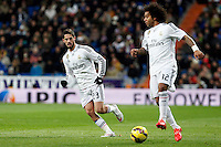 Isco and Marcelo of Real Madrid during La Liga match between Real Madrid and Sevilla at Santiago Bernabeu Stadium in Madrid, Spain. February 04, 2015. (ALTERPHOTOS/Caro Marin) /NORTEphoto.com