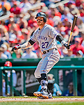 14 April 2018: Colorado Rockies shortstop Trevor Story in action against the Washington Nationals at Nationals Park in Washington, DC. The Nationals rallied to defeat the Rockies 6-2 in the 3rd game of their 4-game series. Mandatory Credit: Ed Wolfstein Photo *** RAW (NEF) Image File Available ***