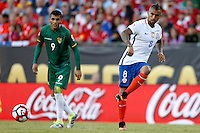 Action photo during the match Chile vs Bolivia at Gillette Stadium Copa America Centenario 2016. ---Foto  de accion durante el partido Chile vs Bolivia, En el Estadio Gillette, Partido Correspondiante al Grupo - D -  de la Copa America Centenario USA 2016, en la foto: Arturo Vidal<br /> <br /> --- 10/06/2016/MEXSPORT/PHOTOSPORT/ Andres Pina