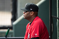 Kannapolis Intimidators hitting coach Jamie Dismuke (45) watches the action from the dugout during the game against the Rome Braves at Kannapolis Intimidators Stadium on April 12, 2017 in Kannapolis, North Carolina.  The Braves defeated the Intimidators 4-3.  (Brian Westerholt/Four Seam Images)