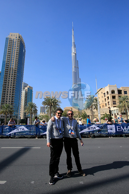 Matteo Cavazzuti and Stefano Diciatteo, RCS Sport, at the finish line beneath the Burj Khalifa during Stage 4, The Old Dubai Stage from Dubai World Trade Centre to Burj Khalifa, of the inaugural Dubai Tour 2014 from Dubai to Hattai. 8th February 2014.<br /> Picture: Eoin Clarke www.newsfile.ie