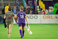 Orlando, FL - Saturday August 12, 2017: Maddy Evans and her mom during a regular season National Women's Soccer League (NWSL) match between the Orlando Pride and Sky Blue FC at Orlando City Stadium.