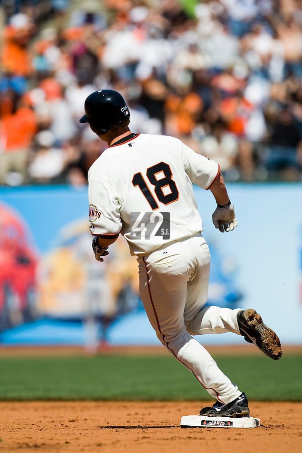 12 April 2008: #18 Matt Cain of the San Francisco Giants runs the bases after hitting an homerun to left in the 6th inning during the St. Louis Cardinals 8-7 victory over the San Francisco Giants at the AT&T Park in San Francisco, CA.