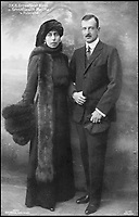 BNPS.co.uk (01202 558833)Pic: MarkAndersen/BNPS<br /> <br /> Grand Duke Cyril Vladimirovich and wife Victoria Melita.<br /> <br /> A Russian Grand Duke branded King George V a 'scoundrel' who 'did not lift a finger' to save the Romanov family in the revolution there of 1917, explosive diaries have revealed.<br /> <br /> The cousin of the overthrown Russian Royal family blamed the British King for their executions because he failed to grant them refuge.<br />  <br /> Dmitri Pavlovich no-holds-barred diary extracts have been published for the first time in a new book by respected historian Coryne Hall, To Free The Romanovs.