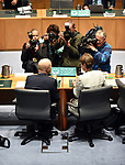 CBA CEO Ian Narev (L) and Chairman Catherine Livingstone (R) appear before the House of Representatives Standing Committee on Economics at Parliament House in Canberra, Australia, on Friday, October 20, 2017.  Photographer: Mark Graham/Bloomberg
