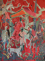 Detail of a tapestry in the Salle des Fetes, by Roger Bezombes, 1913-1994, in the Residence Lucien Paye, designed by Jean Vernon, Bruno Philippe and Albert Laprade, 1883-1978, and inaugurated 1949, in the Cite Internationale Universitaire de Paris, in the 14th arrondissement of Paris, France. Bezombes has designed huge tapestries made by Ateliers Hamot in Aubusson, with legendary characters, traditions, African animals and Madagascan flora. Originally the Overseas French Territories House, the building was later used to house students from Sub-Saharan African countries. Pierre Meauze sculpted the pillars at the entrance and Anna Quinquaud made the bas-reliefs on the facade. The CIUP or Cite U was founded in 1925 after the First World War by Andre Honnorat and Emile Deutsch de la Meurthe to create a place of cooperation and peace amongst students and researchers from around the world. It consists of 5,800 rooms in 40 residences, accepting another 12,000 student residents each year. Picture by Manuel Cohen. L'autorisation de reproduire cette œuvre doit etre demandee aupres de l'ADAGP/Permission to reproduce this work of art must be obtained from DACS.