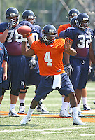 Virginia quarterback Vic Hall during open spring practice for the Virginia Cavaliers football team August 7, 2009 at the University of Virginia in Charlottesville, VA. Photo/Andrew Shurtleff