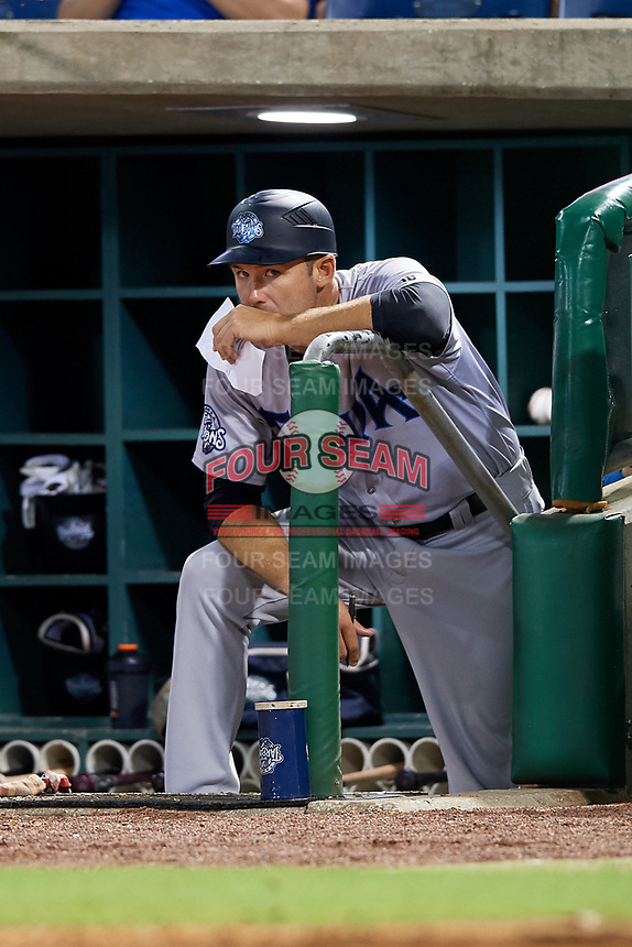 Tampa Tarpons manager Pat Osborn (13) looks on from the dugout during a game against the Clearwater Threshers on July 31, 2018 at Spectrum Field in Clearwater, Florida.  Clearwater defeated Tampa 4-2.  (Mike Janes/Four Seam Images)