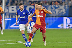 06.11.2018, Veltins-Arena, Gelsenkirchen, GER, CL, FC Schalke 04 vs Galatasaray Istanbul, DFL regulations prohibit any use of photographs as image sequences and/or quasi-video <br /> <br /> im Bild v. li. im Zweikampf Daniel Caligiuri (#18, FC Schalke 04) Martin Linnes (#14, Galatasaray) <br /> <br /> Foto &copy; nordphoto/Mauelshagen