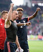 Fussball  1. Bundesliga  Saison 2015/2016  29. Spieltag  VfB Stuttgart  - FC Bayern Muenchen    09.04.2016 Schlussjubel  FC Bayern Muenchen; Franck Ribery (li) und David Alaba