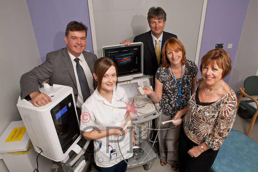 Pictured from left are Bryn Tudor-Owen of Nanosonics, Trophon Champion Leanne Warren, Stuart Mills of Toshiba with Superintendant Sonographers Ann Allen and Alyson Feely