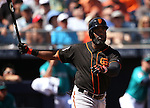 SF Giants' Denard Span bats in a spring training game against the Seattle Mariners in Peoria, Ariz., on Wednesday, March 16, 2016. <br />