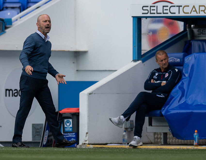 Reading manager Mark Bowen (left) <br /> <br /> Photographer David Horton/CameraSport<br /> <br /> The EFL Sky Bet Championship - Reading v Middlesbrough - Tuesday July 14th 2020 - Madejski Stadium - Reading<br /> <br /> World Copyright © 2020 CameraSport. All rights reserved. 43 Linden Ave. Countesthorpe. Leicester. England. LE8 5PG - Tel: +44 (0) 116 277 4147 - admin@camerasport.com - www.camerasport.com