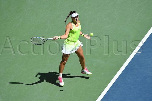 07.09.2016. Flushing Meadows, New York, USA. Ana Konjuh (CRO) returns to Karolina Pliskova (CZE) in the womens singles quarter-final.