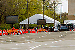 APRIL 14, 2020: COVID 19 testing in the Bay Plaza Shopping Center.  The is one of numerous NY State Trooper testing sites, with the New York and International Guard offering support.  The Bronx,  NY.  Sue Kawczynski-Eclipse Sportswire