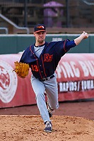 Bowling Green Hot Rods pitcher Michael Plassmeyer (13) warms up in the bullpen prior to a Midwest League game against the Cedar Rapids Kernels on May 2, 2019 at Perfect Game Field in Cedar Rapids, Iowa. Bowling Green defeated Cedar Rapids 2-0. (Brad Krause/Four Seam Images)