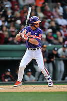 Second baseman Weston Wilson (8) of the Clemson Tigers bats in the Reedy River Rivalry game against the South Carolina Gamecocks on Saturday, March 5, 2016, at Fluor Field at the West End in Greenville, South Carolina. Clemson won, 5-0. (Tom Priddy/Four Seam Images)