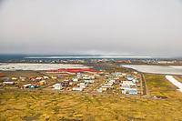 Aerial of native Alaskan Inupiaq eskimo village, Utqiagvik (Barrow), Alaska.