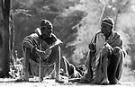 Turkana elders in a traditional village nr Kakuma, Northern Kenya.
