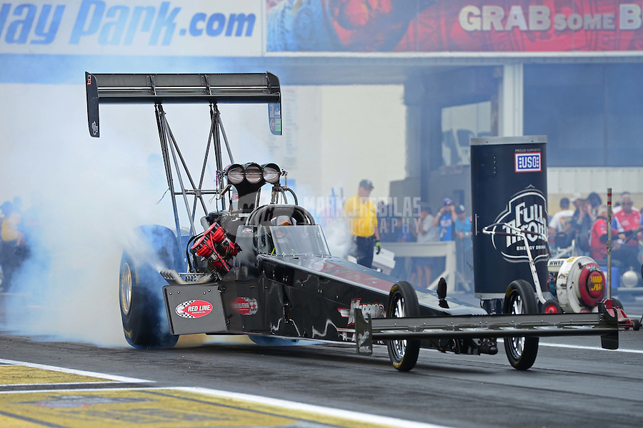 Jun. 1, 2012; Englishtown, NJ, USA: NHRA top fuel dragster driver Brady Kalivoda during qualifying for the Supernationals at Raceway Park. Mandatory Credit: Mark J. Rebilas-