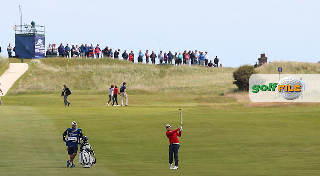Tyrrell Hatton (ENG) playing down the 6th during Round Three of the 2015 Aberdeen Asset Management Scottish Open, played at Gullane Golf Club, Gullane, East Lothian, Scotland. /11/07/2015/. Picture: Golffile | David Lloyd<br /> <br /> All photos usage must carry mandatory copyright credit (&copy; Golffile | David Lloyd)