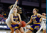 SIOUX FALLS, SD - MARCH 8: Olivia Kaufmann #13 of the Western Illinois Leathernecks drives to the basket against Oral Roberts Golden Eagles defense at the 2020 Summit League Basketball Championship in Sioux Falls, SD. (Photo by Richard Carlson/Inertia)