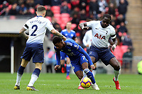 Demarai Gray of Leicester City and Moussa Sissoko and Kieran Trippier of Tottenham Hotspur during Tottenham Hotspur vs Leicester City, Premier League Football at Wembley Stadium on 10th February 2019