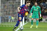 27th November 2019; Camp Nou, Barcelona, Catalonia, Spain; UEFA Champions League Football, Barcelona versus Borussia Dortmund;  Rakitic keeps the ball in play on the byeline - Editorial Use