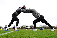 (L-R) Leroy Fer and Luciano Narsingh of Swansea City stretch during the Swansea City Training at The Fairwood Training Ground in Swansea, Wales, UK. Tuesday 08 January 2019