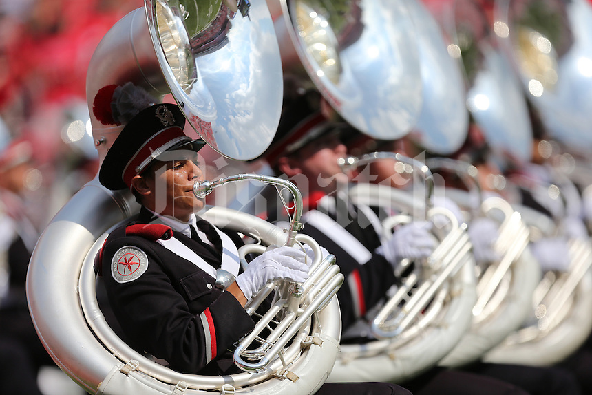 The Ohio State University Marching band takes the field before the start of a football game between the Ohio State Buckeyes and the San Diego State Aztecs on Sept. 7, 2013 at Ohio Stadium. (Columbus Dispatch photo by Fred Squillante)
